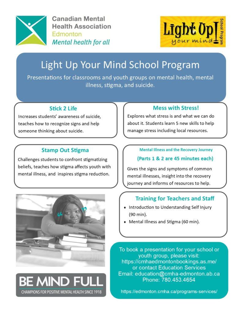 Light Up Your Mind School Program Cmha Edmonton Region