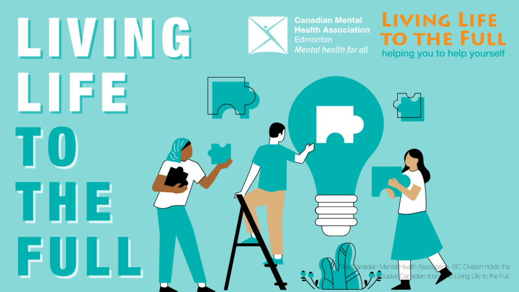 Cartoon image of people working together to build a lightbulb from puzzle pieces. Text reads 'Living Life to the Full'