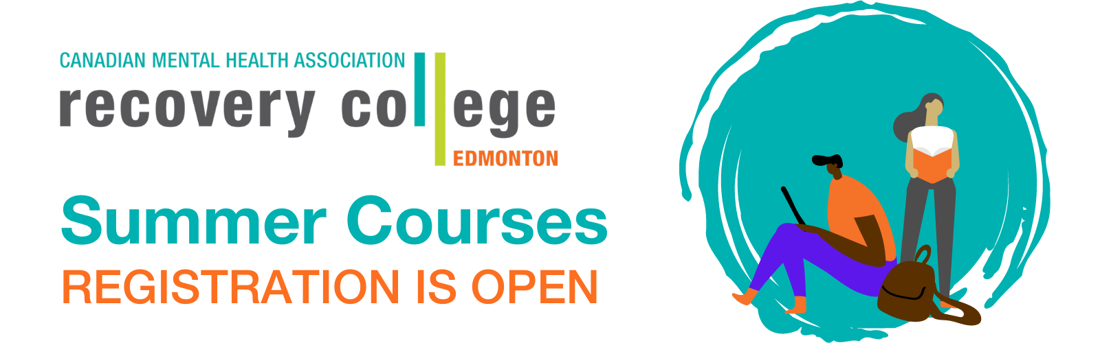 White background with two drawn people, one on a phone and one with a book. Text reads: Recovery College Edmonton. Summer courses are now open for registration.