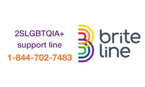 2SLGBTQIA+ support line, 1-844-702-7483, Brite Line