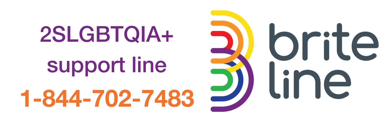 2SLGBTQIA+ support line 1-844-702-7483, Brite Line